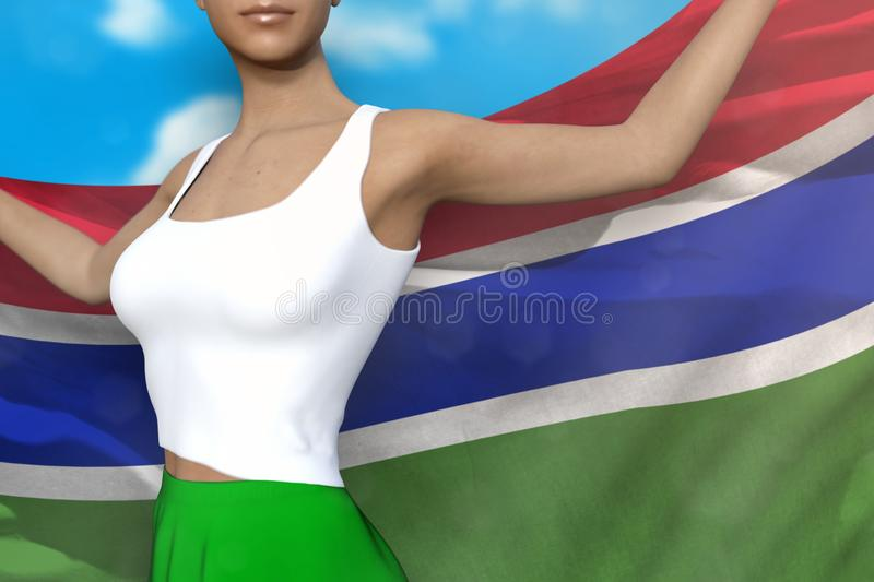 Sexy girl in bright skirt holds Gambia flag in hands behind her back on the cloudy sky background - flag concept 3d illustration. Beautiful girl in bright skirt royalty free illustration