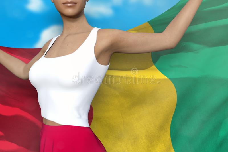 Beautiful woman in bright skirt holds Guinea flag in hands behind her back on the cloudy sky background - flag concept 3d. Beautiful girl in bright skirt is royalty free illustration