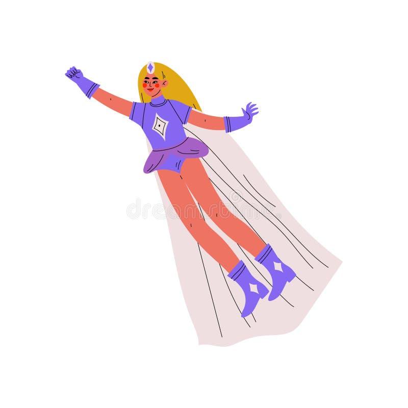 Beautiful Girl in Bright Superhero Costume, Female Hero Character Flying Vector Illustration royalty free illustration