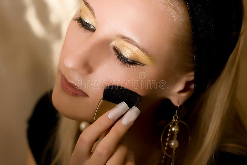 Beautiful girl with brush royalty free stock photos