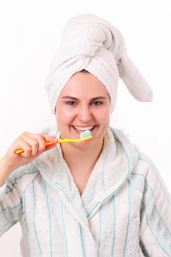 Download Beautiful Girl Brushes Her Teeth Stock Photo - Image of attractive, face: 24596848
