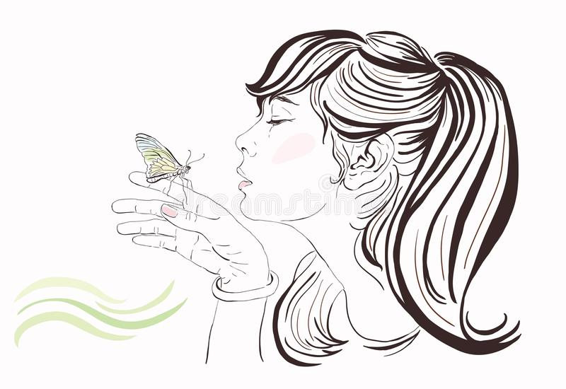 Beautiful girl with butterfly royalty free illustration