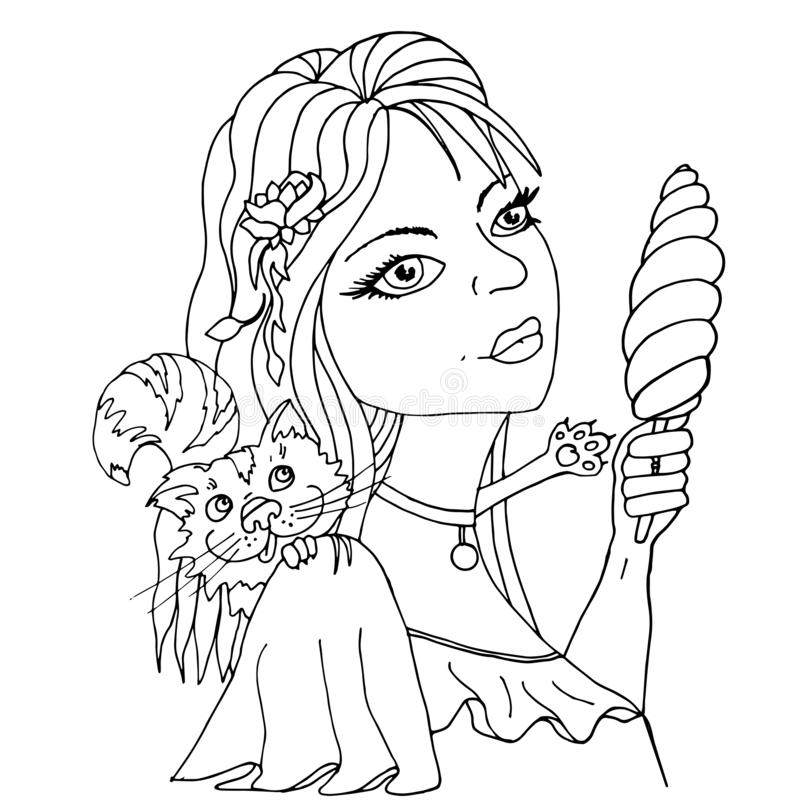 Beautiful girl with a cat. Coloring book vector illustration. Beautiful girl with a cat. the Coloring book vector illustration royalty free illustration