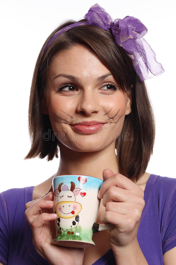 Download Beautiful Girl With Cat Whiskers Stock Photo - Image: 14127350