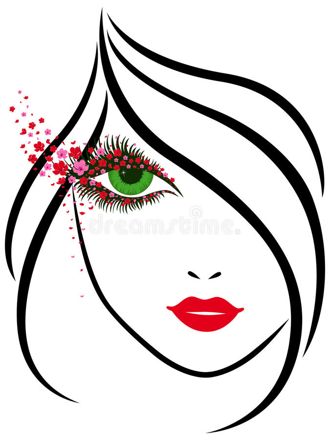 Beautiful girl with charming floral eyes royalty free illustration