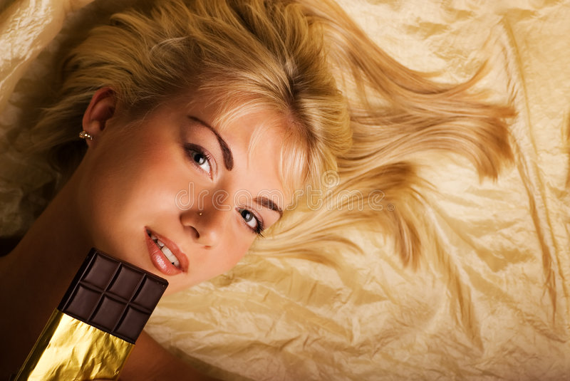 Download Beautiful Girl With A Chocolate Stock Photo - Image: 3617886
