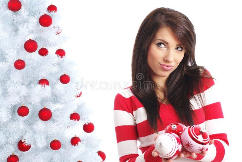 Beautiful girl  with chrismas balls