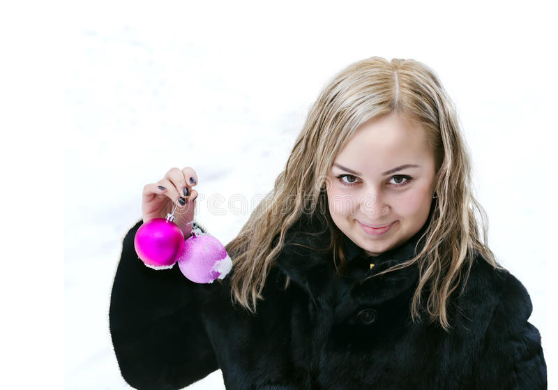 Beautiful girl with Christmas balls stock photos