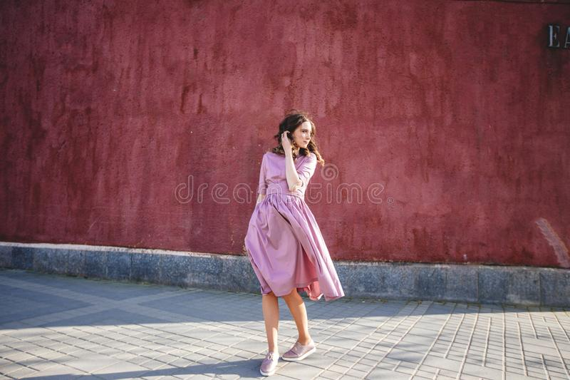 Beautiful girl in the city stock image