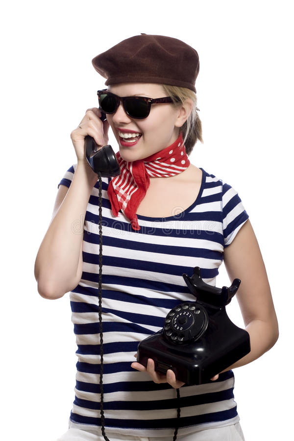 Download Beautiful Girl In Classic 60s French Look Stock Image - Image: 9821523