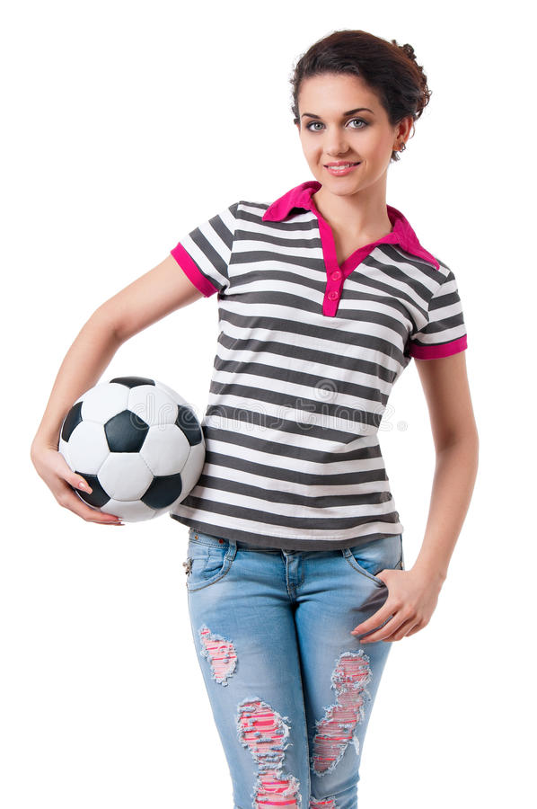 Girl With Soccer Ball Royalty Free Stock Images