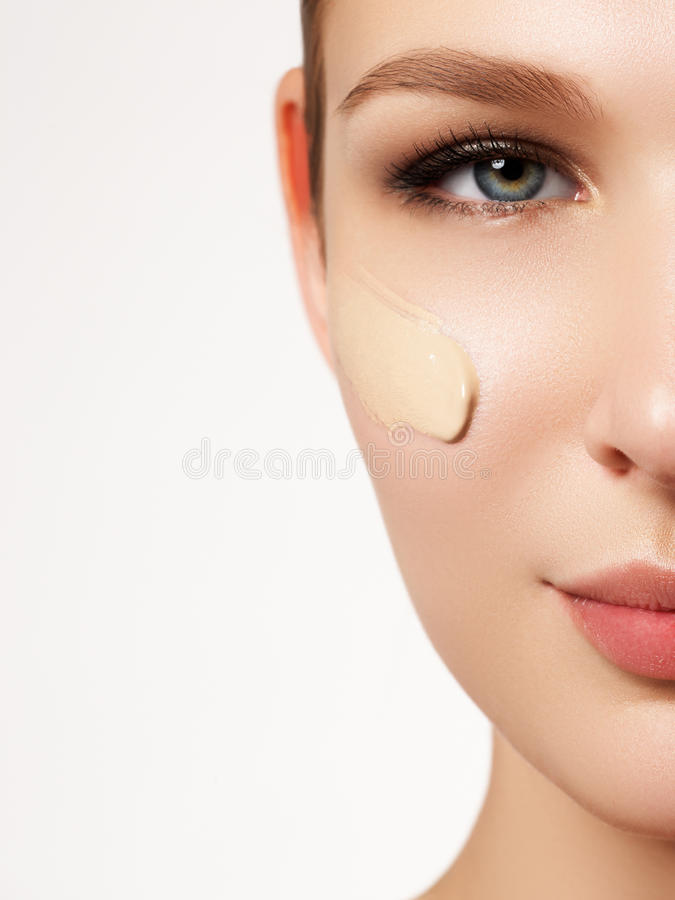Beautiful girl with clean fresh skin close up. Skin care concept stock images