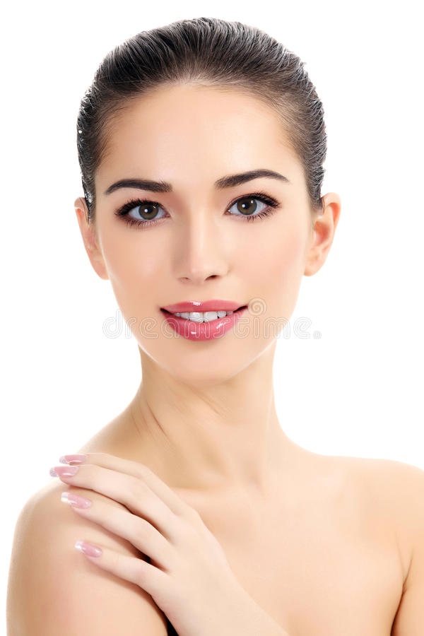 Beautiful girl. With clean fresh skin, white background royalty free stock image