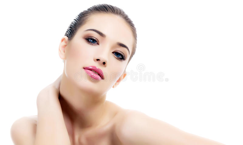 Beautiful girl. With clean fresh skin, white background stock images