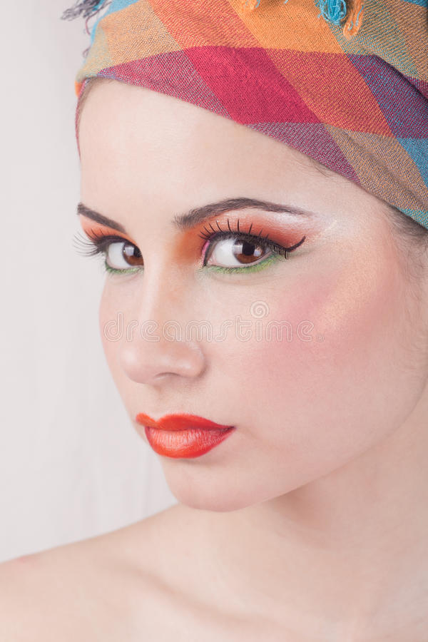 Beautiful girl with clean skin and makeup. royalty free stock image