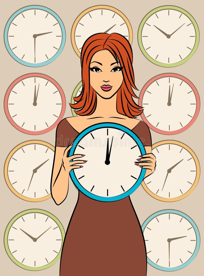 Beautiful girl with clock royalty free illustration