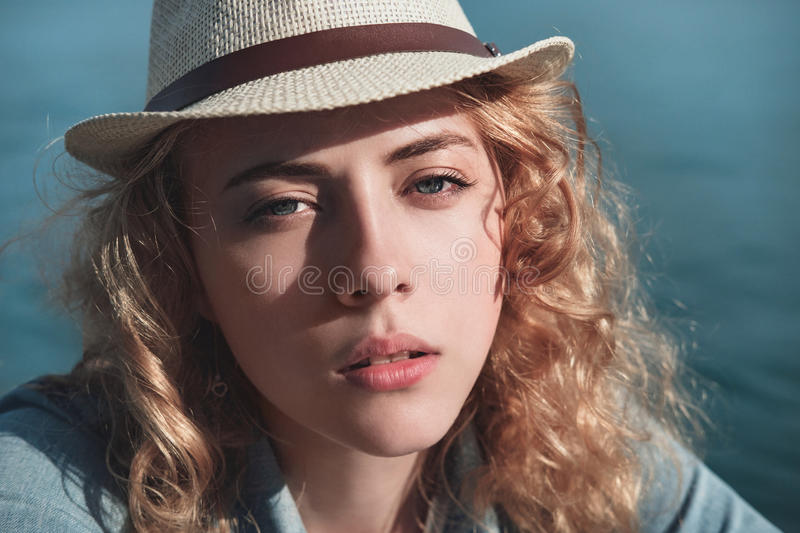 Beautiful girl close up portrait. Outdoor shoot royalty free stock image