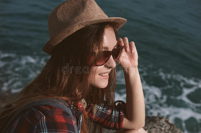 Beautiful girl close up portrait. Outdoor shoot stock images