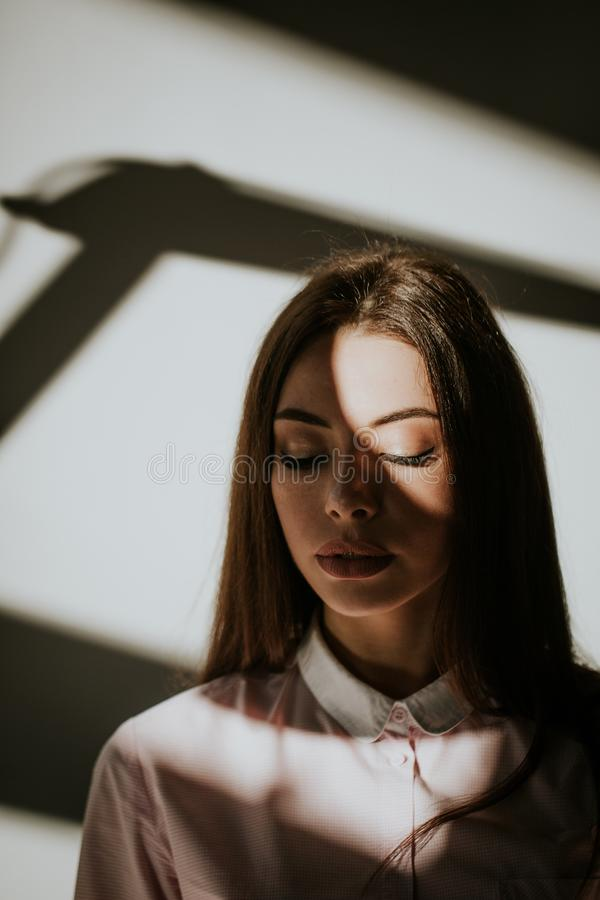 Beautiful girl closed her eyes royalty free stock photos