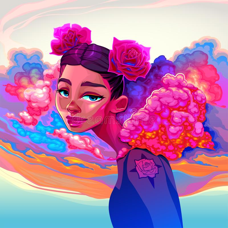 Beautiful girl with clouds and roses in the hair stock illustration