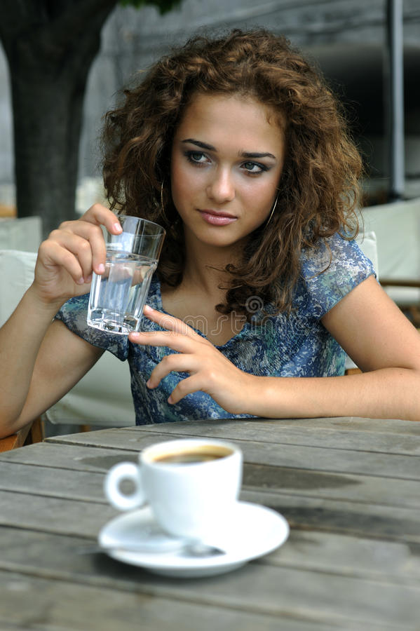 Download Beautiful girl with coffee stock photo. Image of european - 12991266