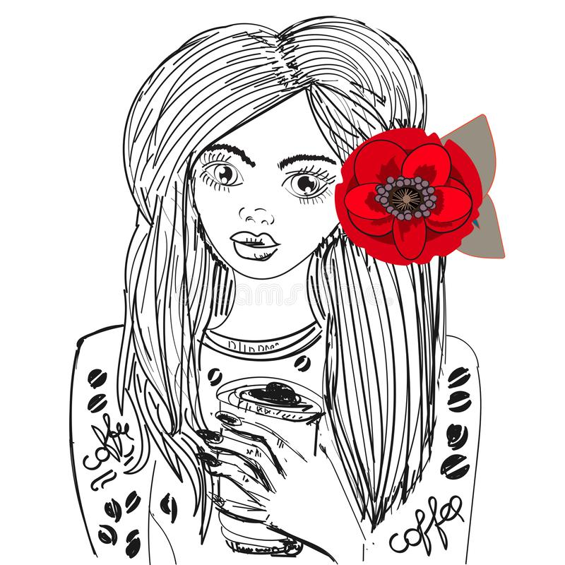 Beautiful Girl With Coffee Cup, hand drawn vector for print, textile, elegant modern urban style, bright flower in hair stock illustration