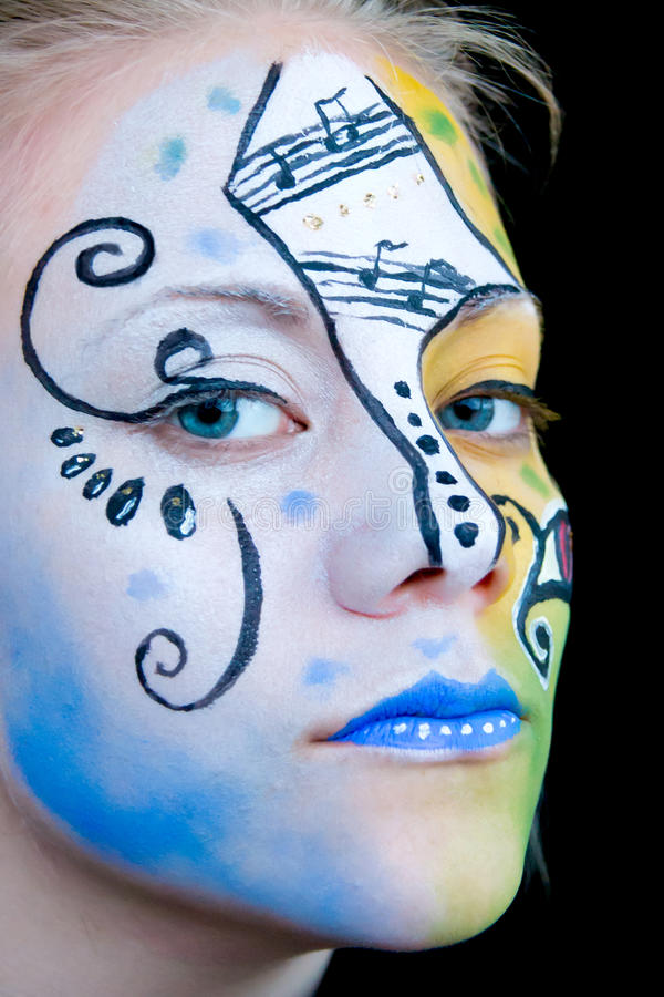 Download Beautiful Girl With Colorful Face Paint Stock Photo - Image: 24653896