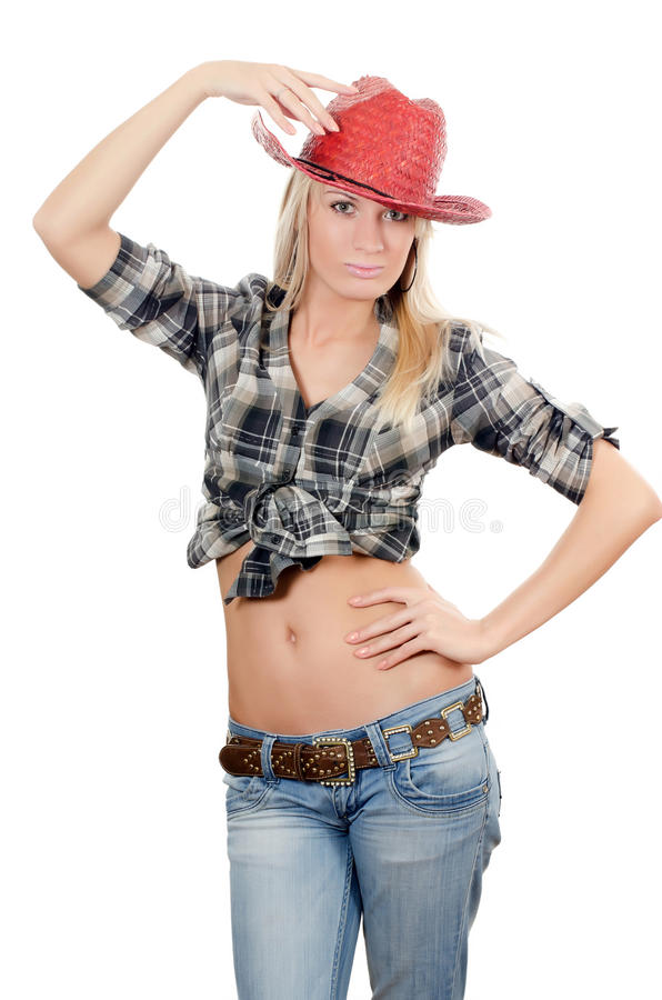 Download The Beautiful Girl In A Cowboy's Hat Stock Photo - Image: 23990728