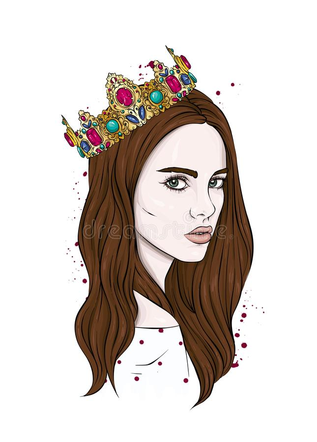 Beautiful girl in crown. Girl with long hair. Vector illustration for a postcard or a poster, print for clothes. Fashion & Style. stock illustration