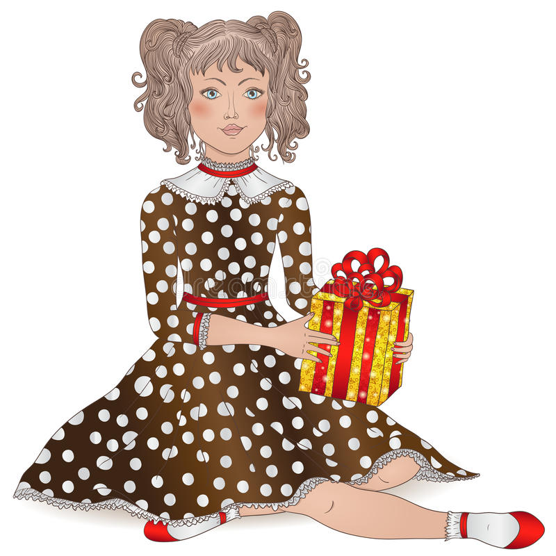 beautiful girl with curly hair in festive dress with a gift vector illustration