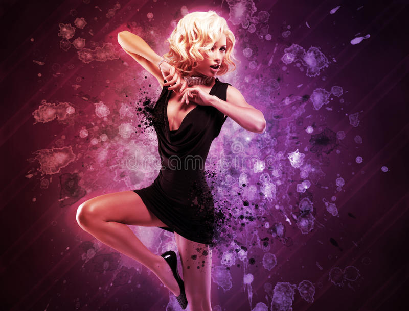 Beautiful girl dancer in black dress in creative pose over art. Bright color background stock images