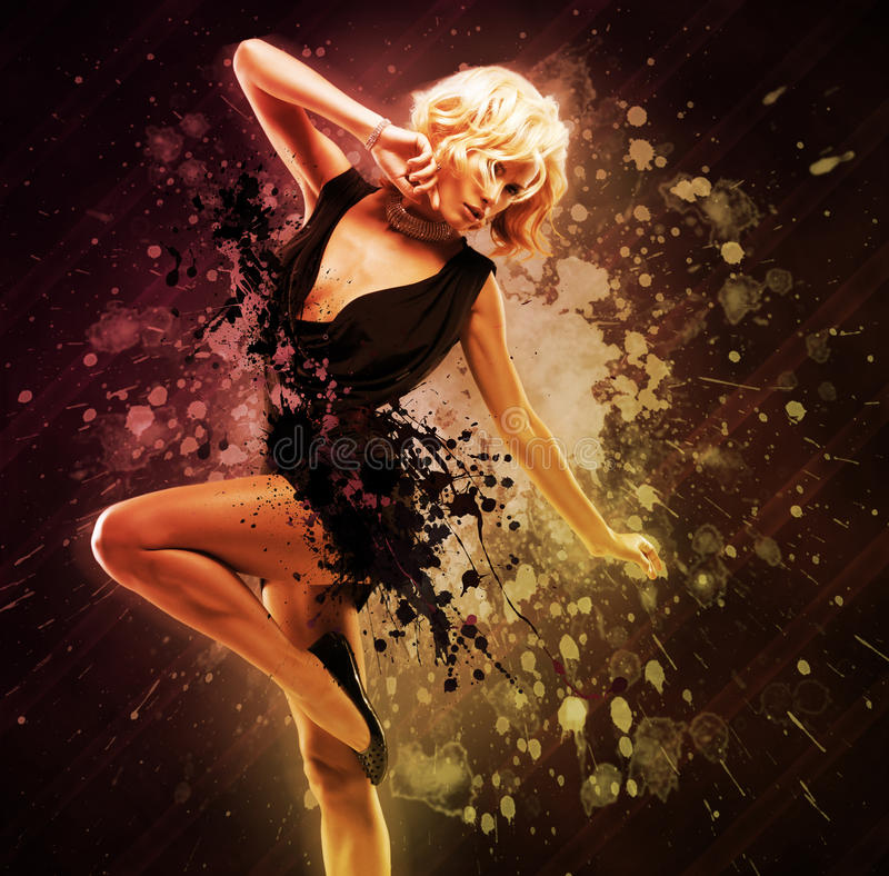 Beautiful girl dancer in black dress in creative pose over art. Bright color background stock photos