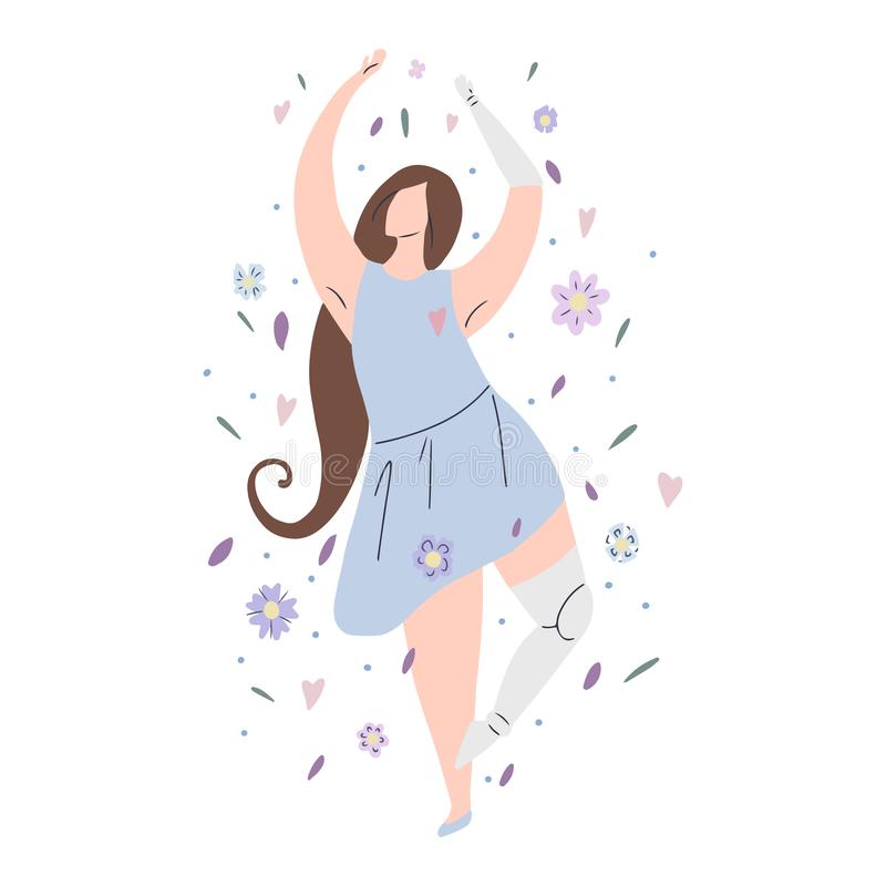 Beautiful girl dancing in flowers with prosthetic arm and leg. Modern flat illustration of a strong self sufficient woman. Self. Beautiful girl dancing in stock illustration