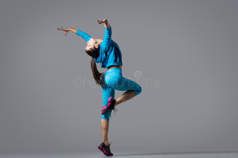 Sporty girl dancing stock photo. Image of activity, color ...
