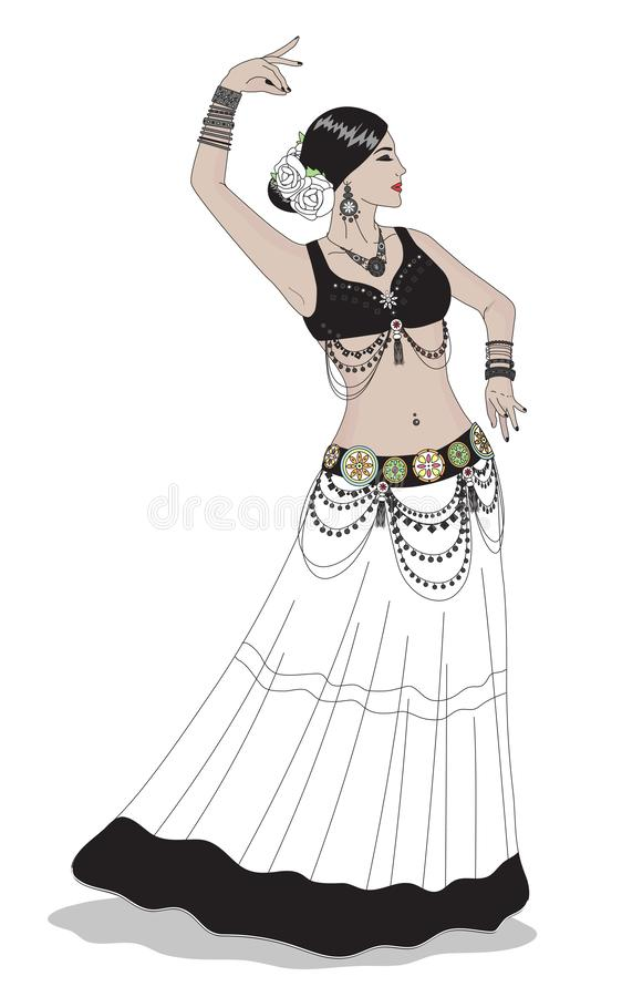 Beautiful girl dancing tribal dance. Belly dance. royalty free illustration