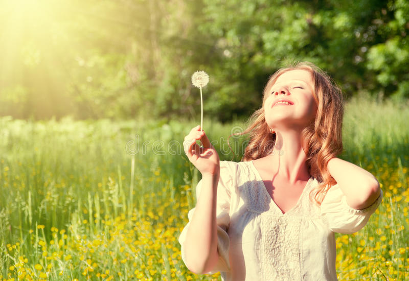 Download Beautiful Girl With Dandelion Enjoying Summer Sun Stock Image - Image: 25152861