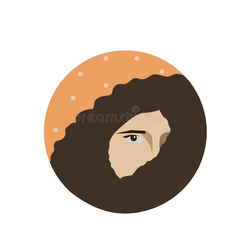 Beautiful girl with dark chocolate color hair are shifted through a shoulder portrait isolated. Vector illustration vector illustration