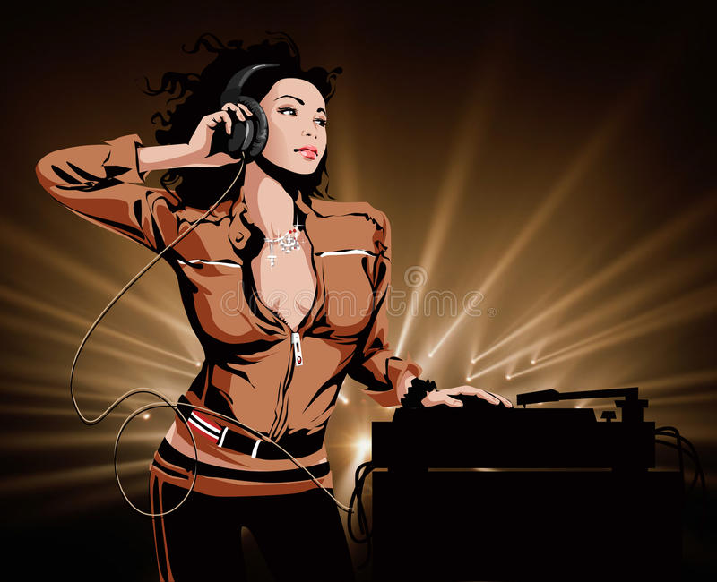 Beautiful Girl DJ. With headphones stock illustration