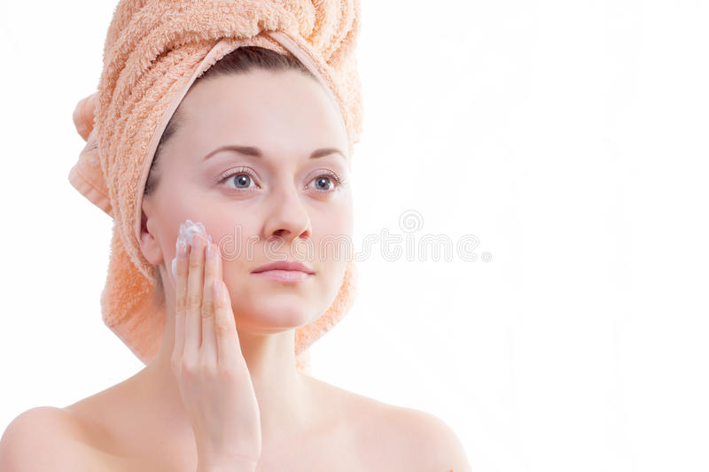 Download Beautiful girl does cream stock image. Image of skin - 28024887