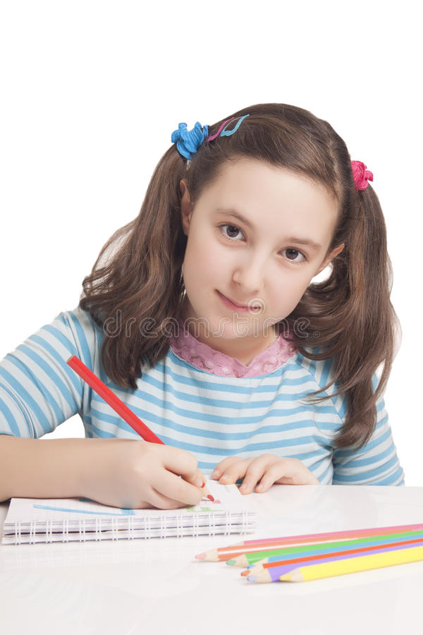 Download Beautiful Girl Is Drawing With Color Pencils Stock Image - Image: 29224149