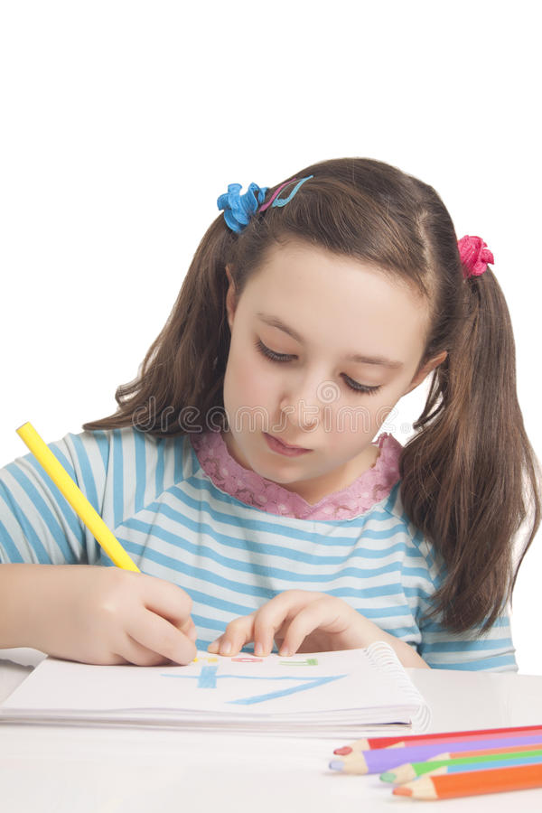 Download Beautiful Girl Is Drawing With Color Pencils Stock Image - Image of school, white: 29224305