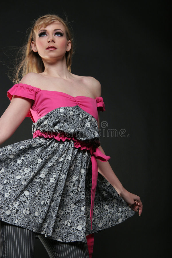 Beautiful girl in dress. Beautiful model in couture dress stock photography