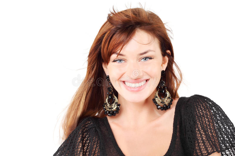 Beautiful Girl In Dress And Bid Earrings Smiles Royalty Free Stock Image