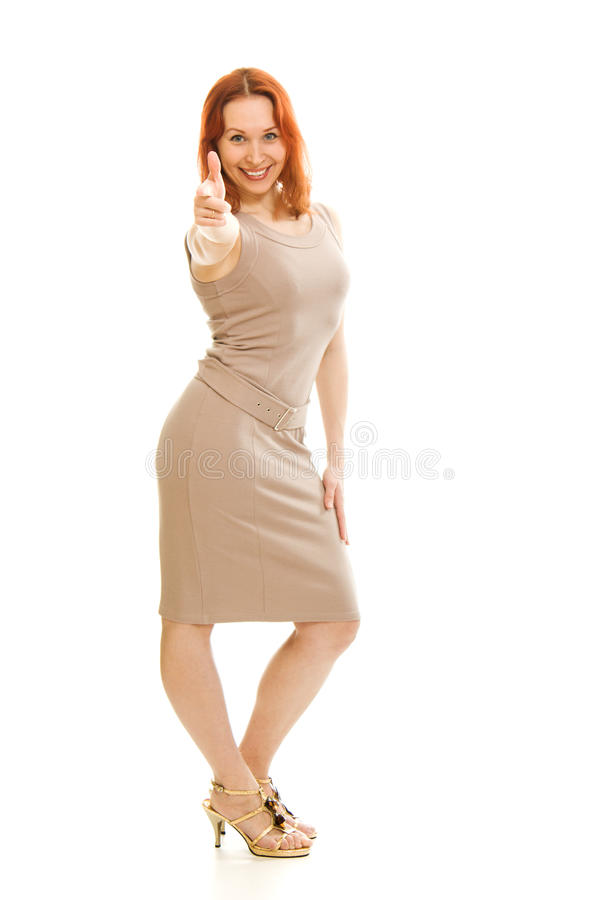 Download Beautiful Girl In A Dress Shows Okay Stock Photo - Image: 25928098