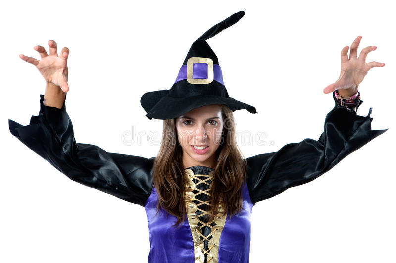 Beautiful girl dressed in evil witch. Isolated on white background stock images
