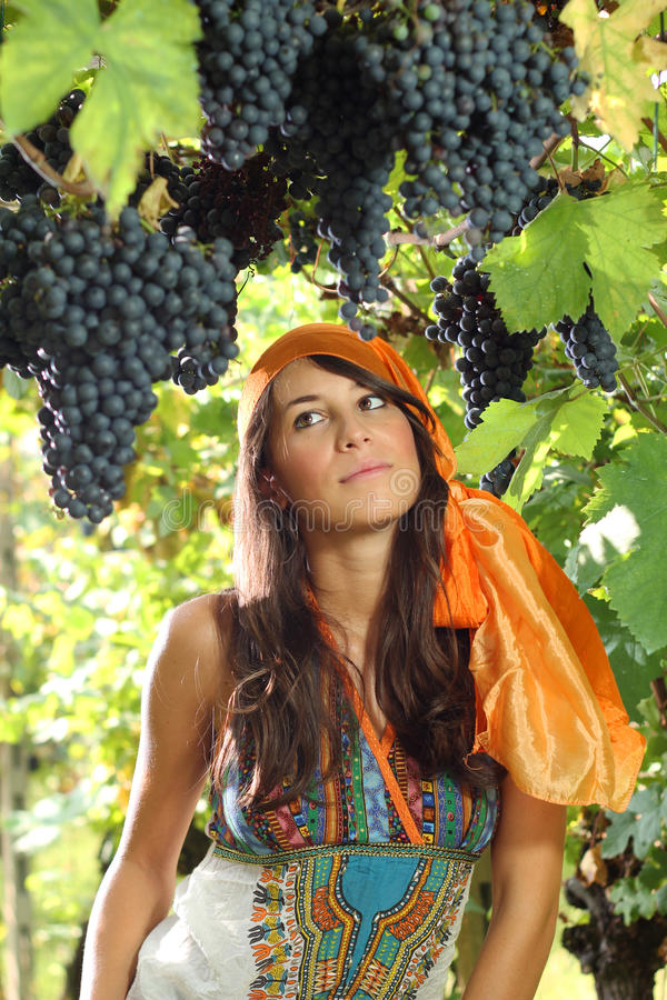 Beautiful girl dressed in gypsy style portrait. Grapes and vineyard as background stock images