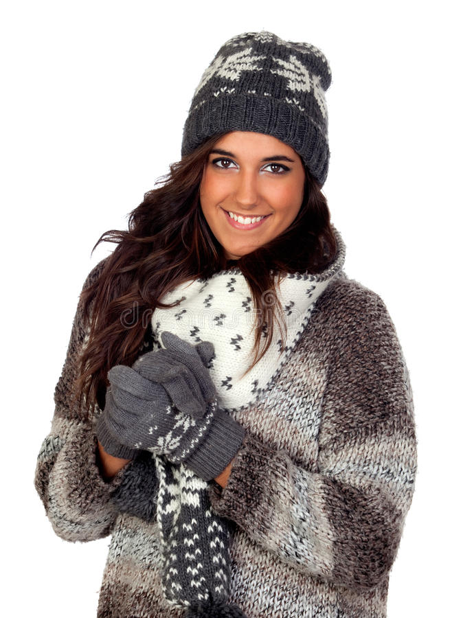 Beautiful girl dressed in winter clothing royalty free stock photos