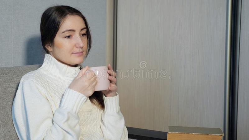 Beautiful girl drinking tea and reading a book on the sofa stock photography