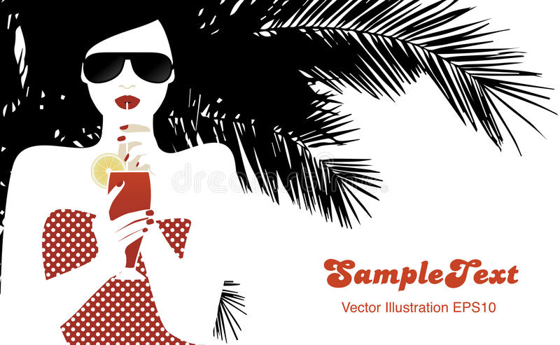 Beautiful girl drinking tomato juice under a palm tree. vector illustration