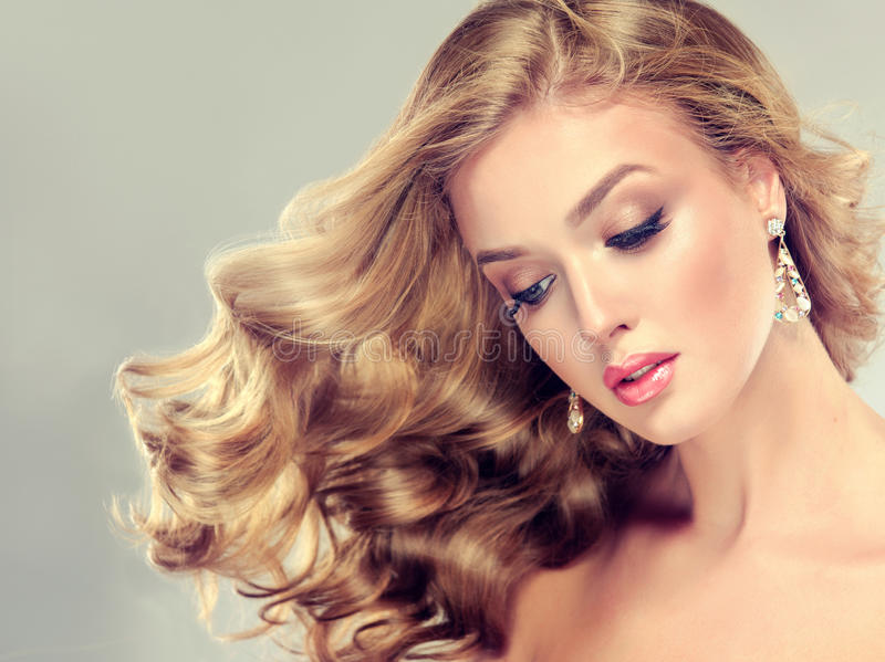 Beautiful girl with an elegant hairstyle. royalty free stock photography